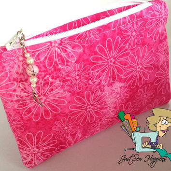 Pink Makeup Bag with Beaded Zipper Pull Cosmetic Bag