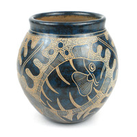 Handmade 5-inch Tall Vase - Blue Fish Design