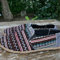 Vegan Mens Loafer in Ethnic Hmong Embroidery, Mens Espadrille, Summer Shoes - Morgan
