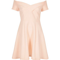 Light pink scuba bardot skater dress - skater dresses - dresses - women