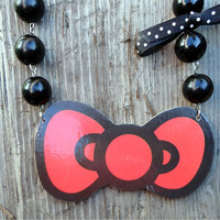 Hello Kitty Bow Bib Necklace with Beads and Bow