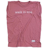 walk in love. Dusty Rose Women's Rolled Cuff Muscle T-Shirt
