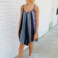 Beach Town Life Ethnic Print Swing Slip Navy Dress