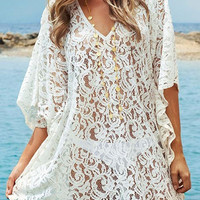 White Crochet Lace Beach Cover-Up