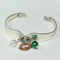 "Vintage Silver Plated ""Green & White Football"" Flatware/Silverware/Spoon Bracelet With ""football"" Charm and Green and White Pearl Bangles"