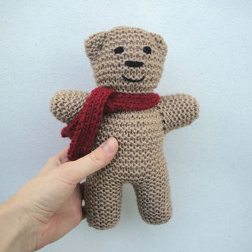 """Bear in Red Scarf, 9"""", Knitted Teddy Bear, Stuffed Plush Toy, For Baby, For Kids"""