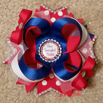 4th of July Red, White, Blue, polka dots Boutique stacked hair bow with glitter tulle, rhinestones, bottle cap star spangled cutie