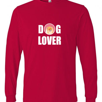 Pomeranian Love and Hearts Long Sleeve Red Unisex Tshirt Adult 2XL