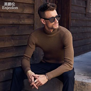 winter knitted pullover warm turtleneck Sweater man clothes Cotton black Clothing Sweater
