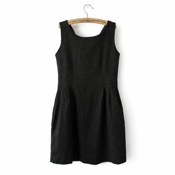 Sleeveless High Waist Shift Mini Dress