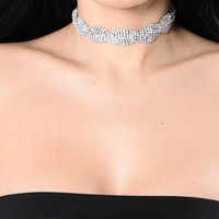 Glitz In My DNA Choker - Silver