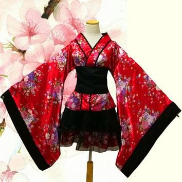 Japanese Kimono Vintage Original Tradition Silk Yukata Dress Japan Sexy Costumes Dancing Performances Costume Dress Lolita Dress