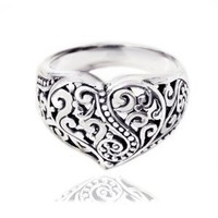 Amazon.com: Chuvora 925 Sterling Silver Oxidized Detailed Filigree Heart,Unique and Charming Ring for Women - Nickle Free: Jewelry
