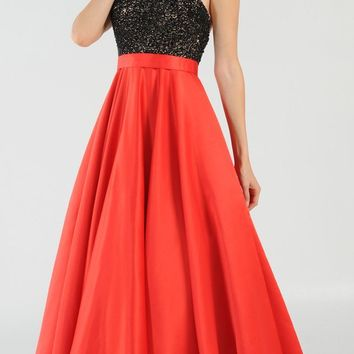 Red/Black Halter Beaded Open Back Long Prom Dress with Pockets