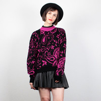 Vintage 1980s Sweater Hot Pink Black Paisley print Cosby Sweater New Wave Knit 80s Jumper High Neck Pullover Bright Floral Mod L Large XL