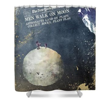 Men walk on Moon Astronauts Shower Curtain