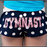 Flannel Gymnast Shorts - Navy with Polka Dots
