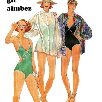 1970s Vintage Gil Aimbez Designer for Butterick 5449 Sexy Cut-Away Sides Swimsuit with V-Neckline & Cover-Up- Size 12/Bust 34 Sewing Pattern