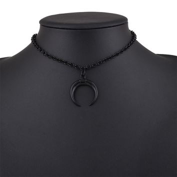 Punk Style Half moon Pendant Black Chain Fashion Women Necklace