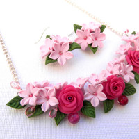 Floral jewelry set - Roses - Fuchsia jewelry - Handmade polymer necklace earrings
