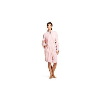 Hotel Spa Collection Women's Embossed Chevron Zip Robe, Large/X-Large, Light Pi