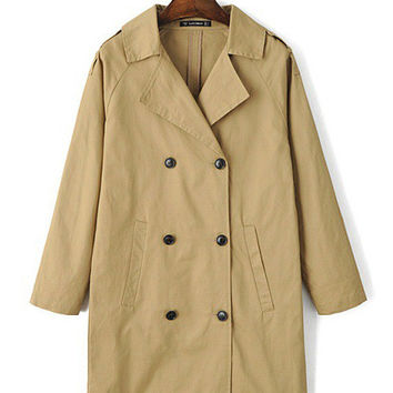 Notched Collar Double-Breasted Lapel Trench Coat