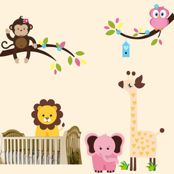 "Nursery Wall Decals, Baby Room Nursery Stickers, Wall Stickers for Nursery, Wall Decals for Baby Room, Jungle Animal Stickers - 79"" x 80"""