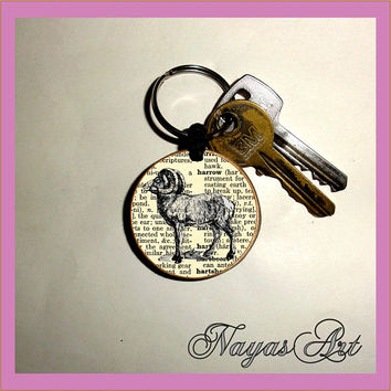 Aries Ram Personalized Keychain - Monogram Keychain Wooden key fob sister gift Custom Keychain Personalized key chain - Friends - Wedding
