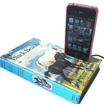 IPod or IPhone Dock Charging Station, Vintage Black Beauty Book IPhone Docking Station Charger, Mobile Accessory