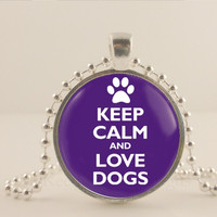 """Keep calm and love dogs, purple, 1"""" glass and metal Pendant necklace Jewelry."""