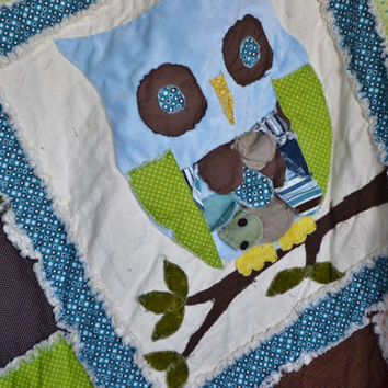RAG QUILT, Owl Applique, Baby Boy Crib Blanket, Vintage, Made to Order
