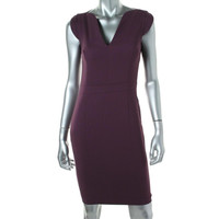 French Connection Womens V-Neck Cap Sleeves Wear to Work Dress