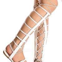 WHITE OPEN TOE MULTI ELASTIC STRAP DESIGN SIDE ZIPPER LACE UP CASUAL KNEE HIGH GLADIATOR SANDALS