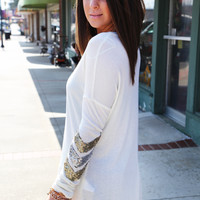 Sequin Chevron Tunic {Ivory}