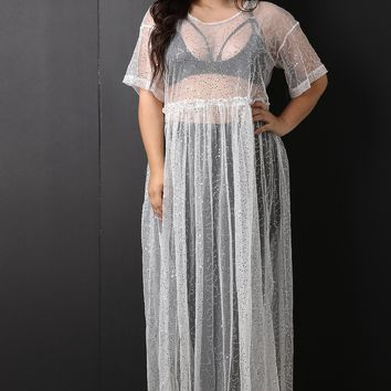 MY MALL METRO  Sequins Semi-Sheer Tulle Maxi Dress  Check Homepage for Promo Codes! <
