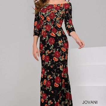 Black and Red Floral Boat Neck Evening Dress 49531