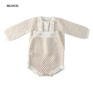 MILANCEL 2018 Baby Bodysuit Solid Baby Boys Clothing Toddler Girls Knit Bodysuit Winter New Infant Boys Clothes