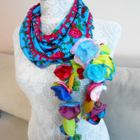Turkey Scarf - Scarves Ethnic - Ethnic Handmade Scarf - Floral Triangle Scarf - Ethnic Accessories - Women's Accessories - Turkish Scarf