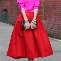 Bright Lipstick Red Pearlescent Bell Flare A Line Pleated Skater Midi Skirt