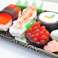 Sushi Soap Gift Set - Vegan Soap - food soap - Ginger Fizz Scented - Shrimp, Maki, Roe, Tuna in a real Sushi Take out Box