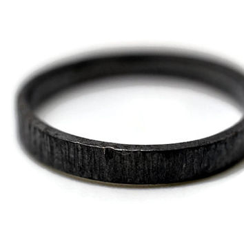 Tree Bark Ring, Oxidized Silver Ring, Black Wedding Band, Engravable Ring, Personalized Jewelry, Minimalist Ring