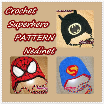 Crochet Superhero hat PATTERN, crochet hat pattern, boy hat pattern, superhero pattern, Spiderman, Batman, Superman