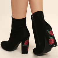 Gitana Black Suede Embroidered Mid-Calf Boots