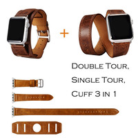 URVOI Cuff Single/ Double Tour wraps for apple watch band extra-long high quality genuine Vintage Leather loop 3 types in 1 set