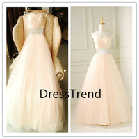 New Arrival 2014 Wedding Dress/ Beach Wedding Dress/Tulle Bridal Wedding Dress/A Line Bridal Dress/Floor Length Custom Made Wedding Dress