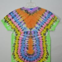 Neon Tie Dye Shirt Mens Small Psychedelic Hippie Trippy Soft Grunge Mens Clothing Women Unisex Symmetrical Patterned Shirt Bright Rainbow