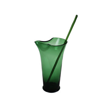 Vintage Handle-Free Cocktail Pitcher Stirring Rod Dark Green Glass