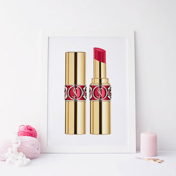 Yves Saint Laurent print, prints and quotes, printable art, yves saint laurent art, yves saint laurent prins, lipstick art, digital print