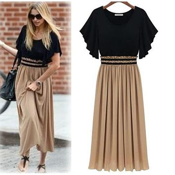 The new spring summer 2016 fashion hot sexy long dress for women party dresses patchwork jacket large size women's beach dress