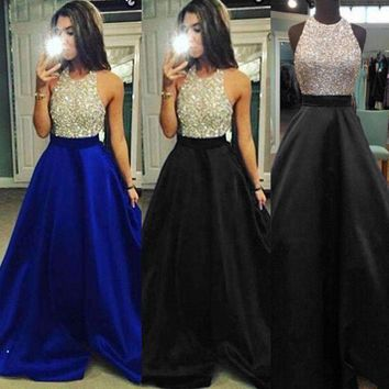 Sequins Long Women Dresses Formal Clubwear Dress Sleeveless Prom Ball Gown Long Maxi Dress